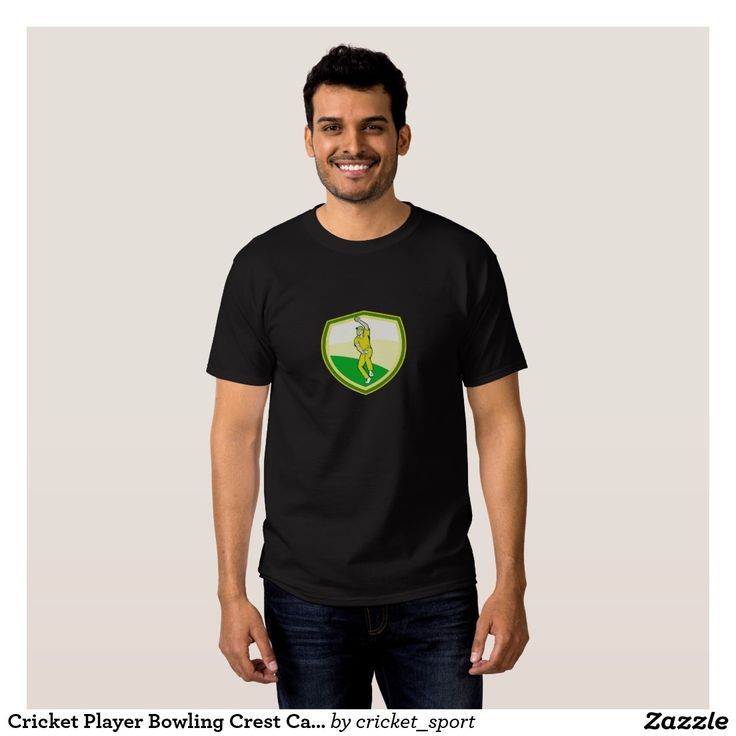 Cricket Player Bowling Crest Cartoon Shirt. Cricket World Cup men's t-shirt with an illustration of a cricket player fast bowler bowling with cricket ball set inside shield crest viewed from front done in cartoon style. #cricket #cricketworldcup #t20worldcup #worldtwenty20 #t20worldcup2016