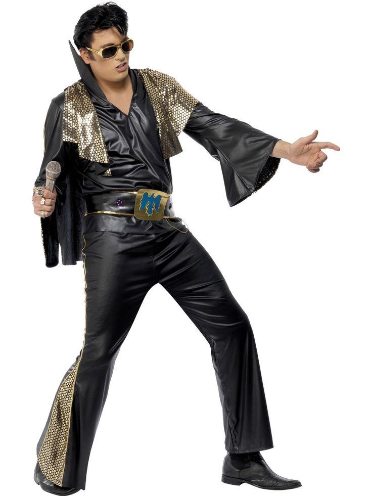Glamour-Elvis. Mustasävyinen Elvis-naamiasasu tihkuu silkkaa Las Vegas-glamouria.