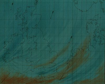 A chilly breeze. Map showing polar air current over the British Isles, from 'The weather book: a manual of practical meteorology', by Robert Fitzroy FRS (London, 1863). Fitzroy was the father of weather forecasting.