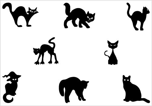 cat silhouette halloween cat and vector graphics on pinterest - Black Cat Silhouette Halloween