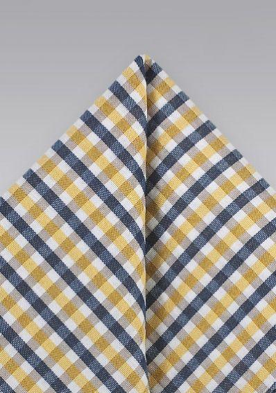 Einstecktuch Baumwolle Vichy-Karos gelb marineblau