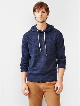 Marled hooded sweater   Gap in navy heather