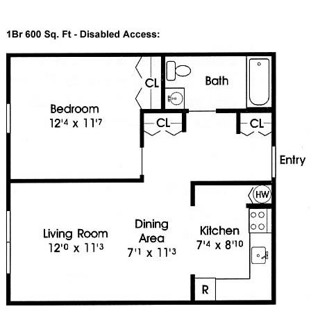 Disabled access floor plans 600 sq ft home floor for 600 sq ft apartment floor plan