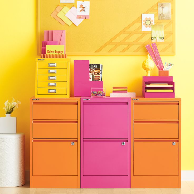 Attractive Pink Bisley File Cabinets