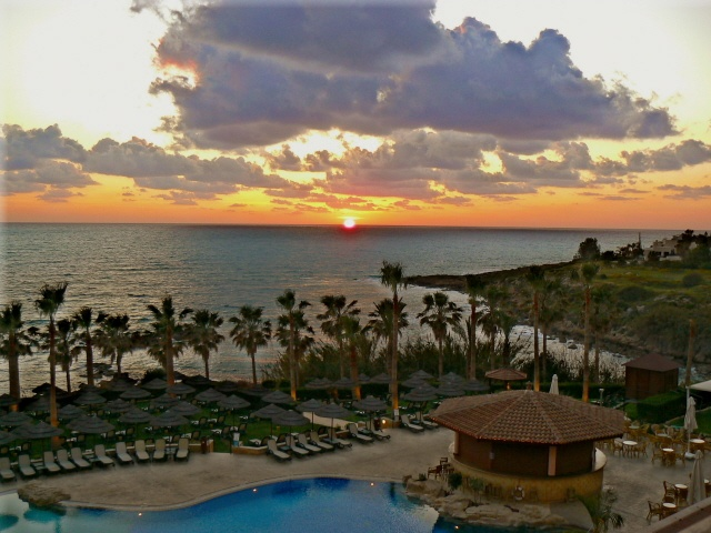 The stunning sunsets from the Hotel Atlantica Golden Beach near Paphos