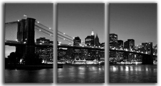3 Panels, Brooklyn bridge and New York, black and white, Canvas oil printing.. $99.00, via Etsy.
