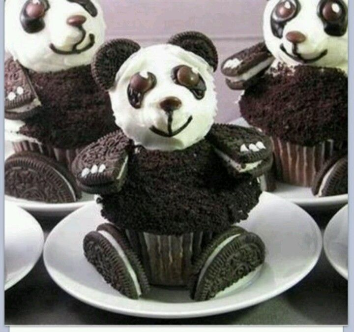 Panda cupcakes making for my bday for the kids
