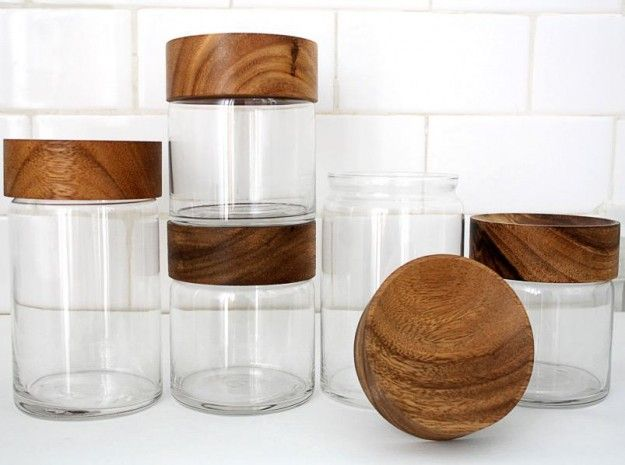 Wood/glass canisters.