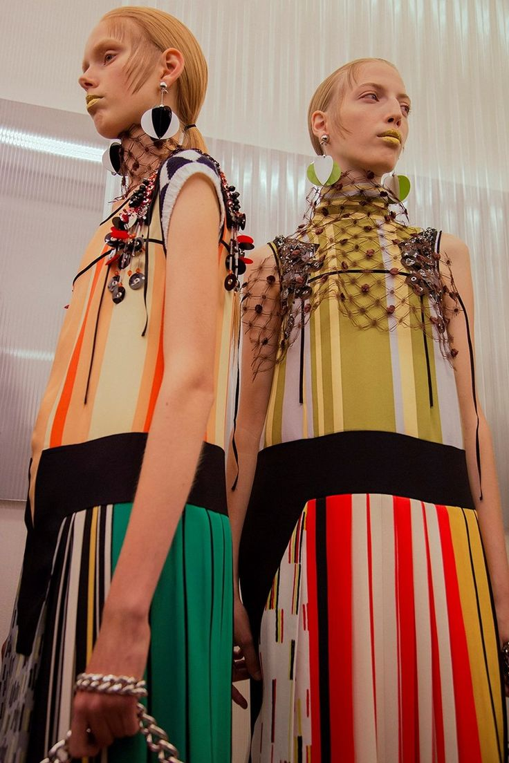 Prada SS16 Backstage #striped
