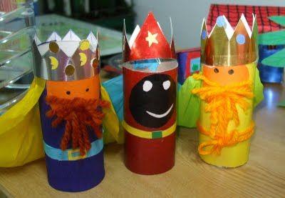 Manualidades infantiles: Reyes magos de cartulina