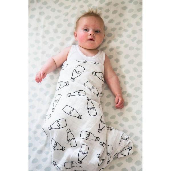 Milk Bottle Latte 100% Cotton Swaddle Blanket for sensitive skin and eczema babies