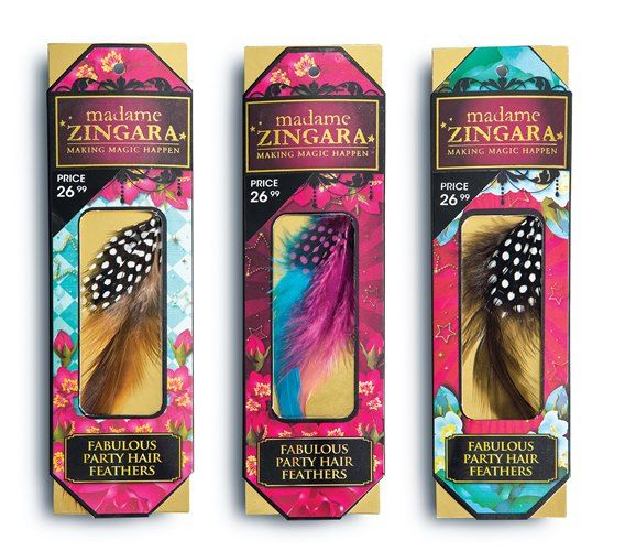 Feather extension clips, are easily removable! Madame #Zingara cosmetic products coming soon.....