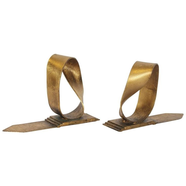 1968s Pair Of Goldleafed Bookends By Curtis Jere  MidCentury  Modern, Metal, Bookend by Architectural Anarchy