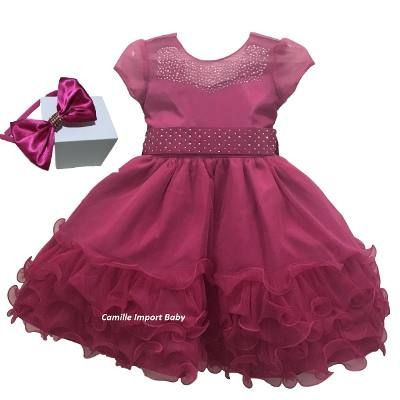 Vestido De Festa Infantil Princesa Barbie Cinderela E Bolero - R$ 155,00