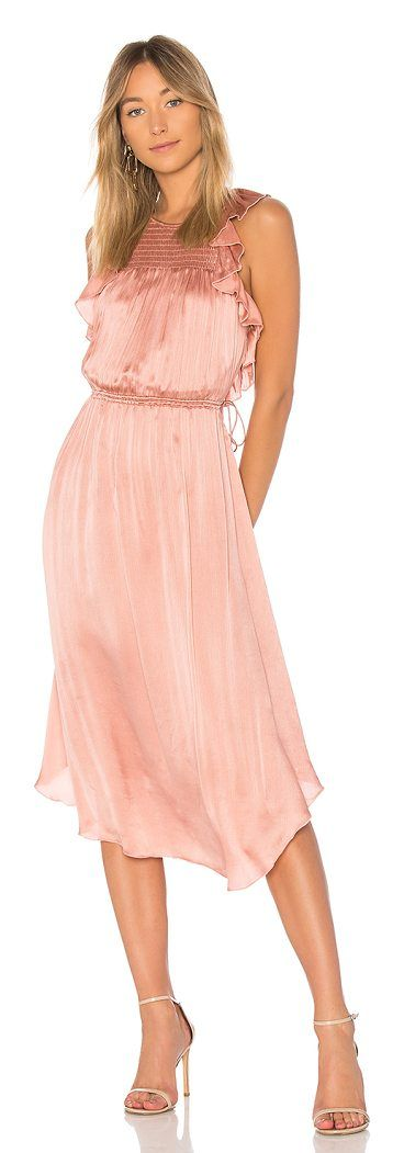 Eveline Dress by Ulla Johnson. A romantic shade of rose with crinkle silk forms Ulla Johnson?s Eveline Dress. Detailed with ruffled sleeves, this el...