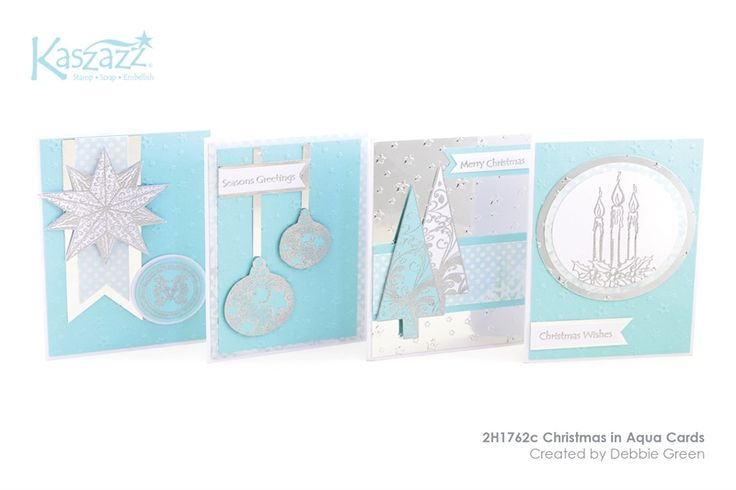 2H1762c Christmas in Aqua Cards