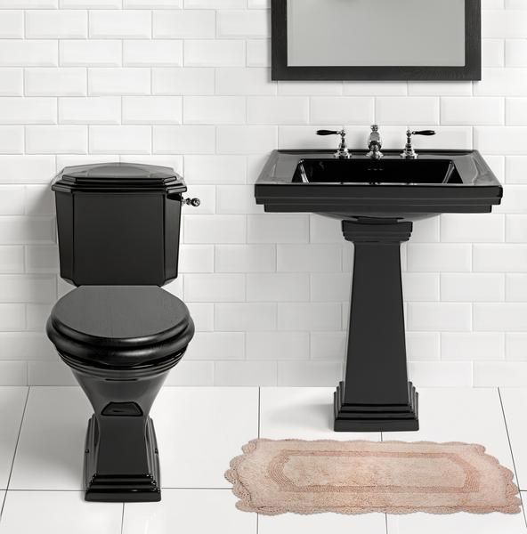High Resolution Bathroom Images For Best Home Decoration: Modern Black  Toilet And Pedestal Sink With Bathroom Mirror Also White Subway Tile Walls  For High ...