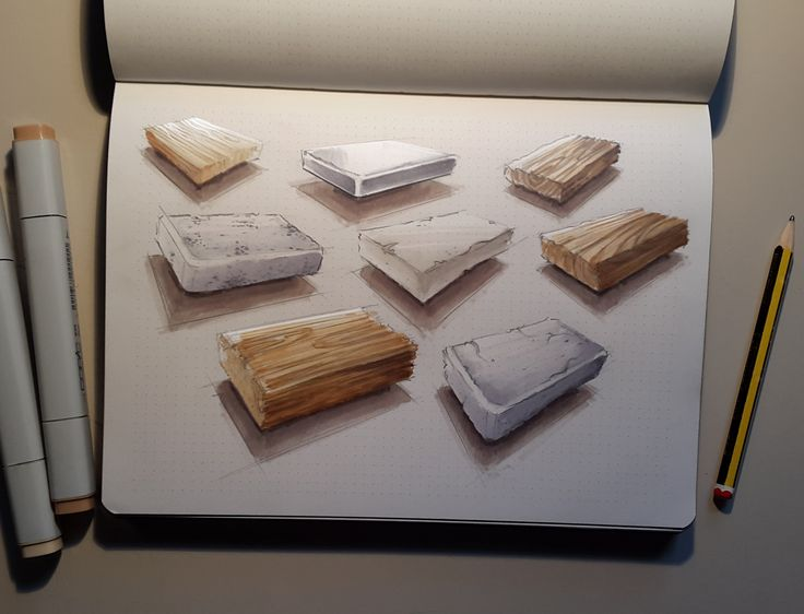 Sketchbook 2016 (Part 1) on Behance dibujo industrial de materiales, madera, concreto