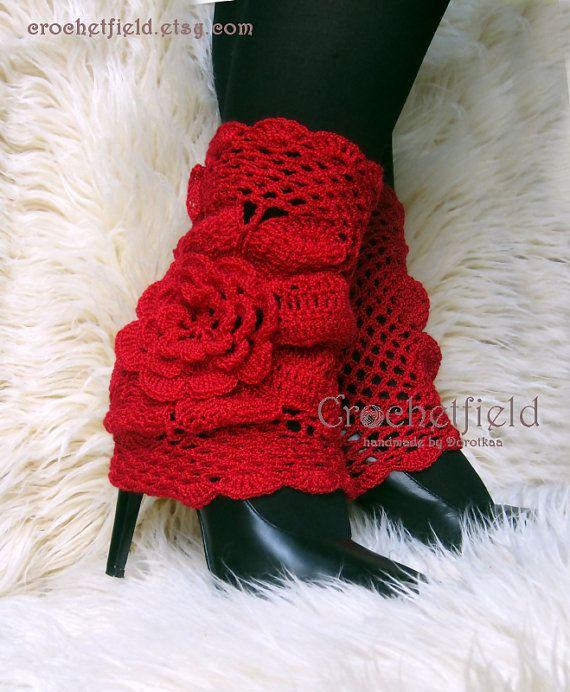 Rouge jambières, manchettes botte, botte chaussettes, de dentelle au Crochet danse / Ballet jambières, chaussettes de remise en forme de botte, cadeau pour elle, fleur jambières