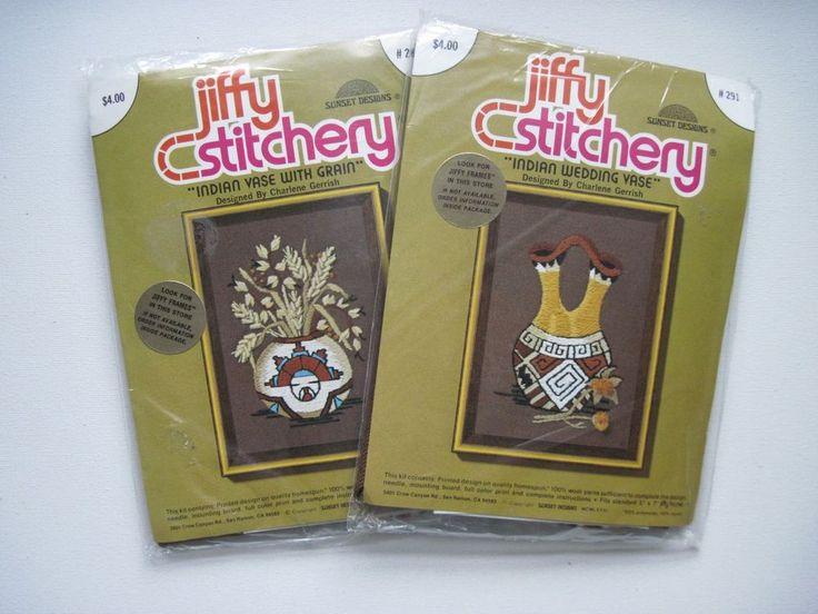 Sunset jiffy stitchery crewel embroidery kits indian