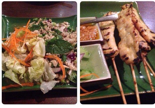 Delicious Thai food in San Francisco--Chicken Larb Salad and Chicken Satay--Chabaa Thai Restaurant San Francisco