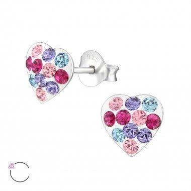 925 zilveren oorstekers met vrolijke, gekleurde Swarovski kristallen.