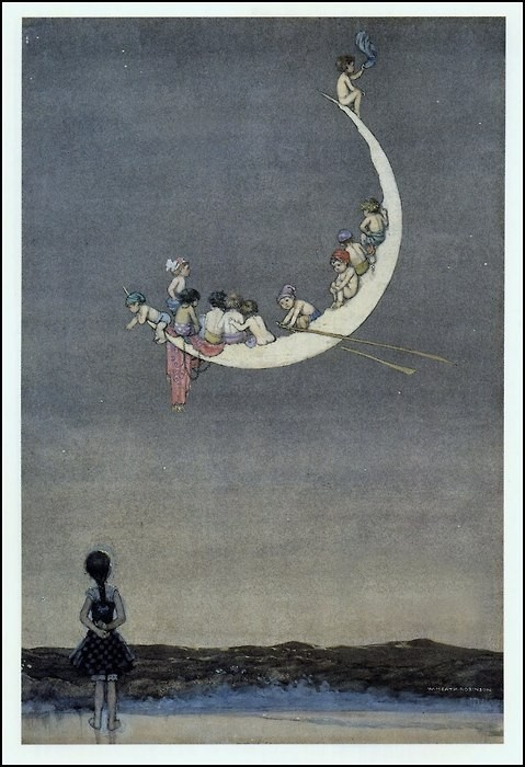 Moon.Boats Kidstuff, The Monday, Moon, Heath Robinson, Illustration, Moon Art, Row Row, Moon Boats, The Moon