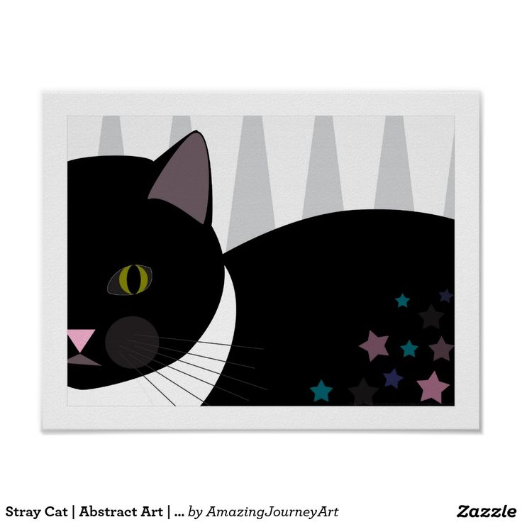 Stray Cat   Abstract Art   Black, Grey and White