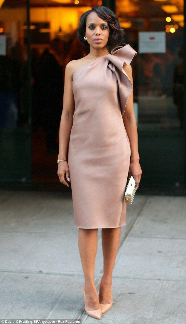 nude dress with shoulder detail