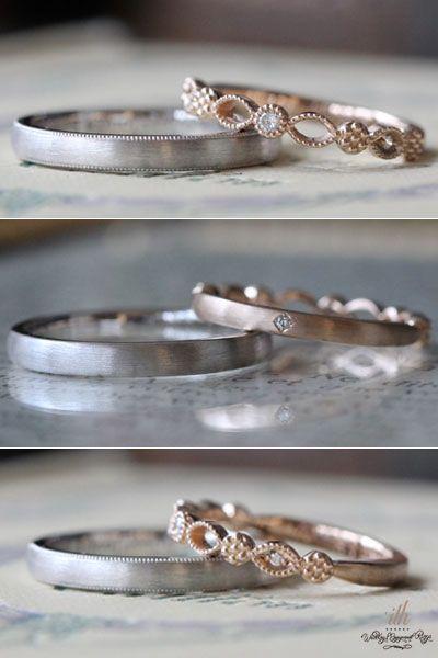 フルオーダーメイドのマリッジリング。男性と女性それぞれの好みで制作。リングを後ろ側にすると、ペア感のあるデザインに。  [marriage,wedding,ring,bridal,K18,Pt900,マリッジリング,結婚指輪,オーダーメイド,プラチナ,ピンクゴールド,ウエディング,ith,イズマリッジ]