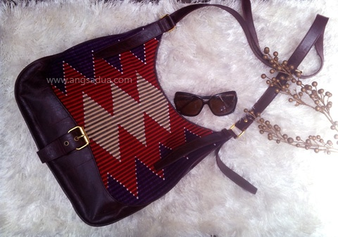 Indonesian Woven Handmade Bag, made from best quality cow leather with kain tenun rang rang from Nusa Penida Bali