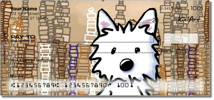 I snuck a #Westie #dog in the #CityScape check series from #KiniArt at #CheckAdvantage  https://www.checkadvantage.com/kiniart