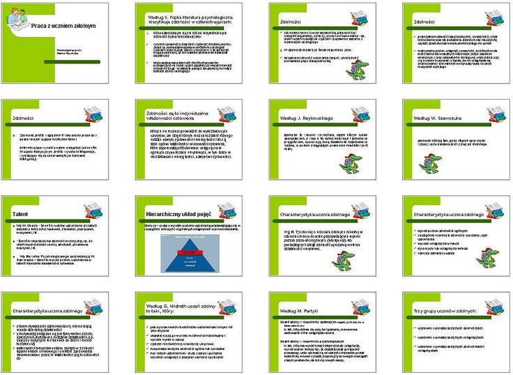 Obszerna prezentacja omawiająca charakterystykę ucznia zdolnego oraz zasady i metody pracy z uczniem zdolnym w szkole.
