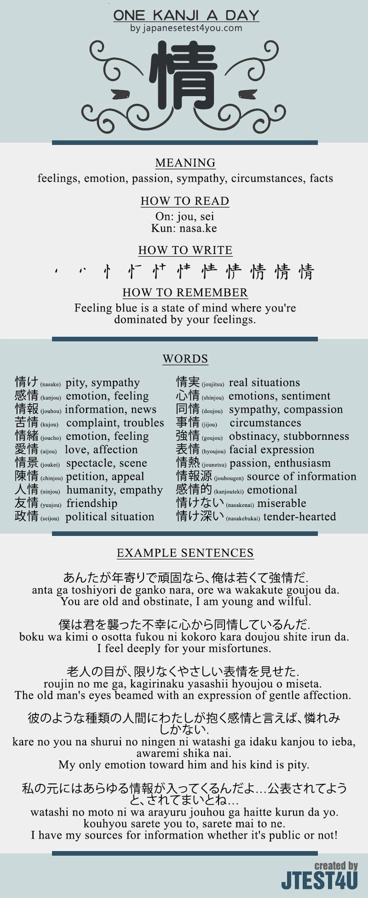 Learn one Kanji a day with infographic - 情 (jou): http://japanesetest4you.com/learn-one-kanji-a-day-with-infographic-%e6%83%85-jou/