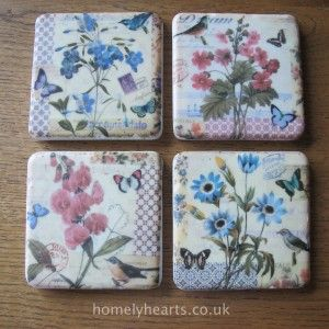 Ceramic Floral Coaster Set. Set of four pretty floral ceramic coasters from Gisela Graham. These are heavy quality coasters that will last and be admired by your visitors.