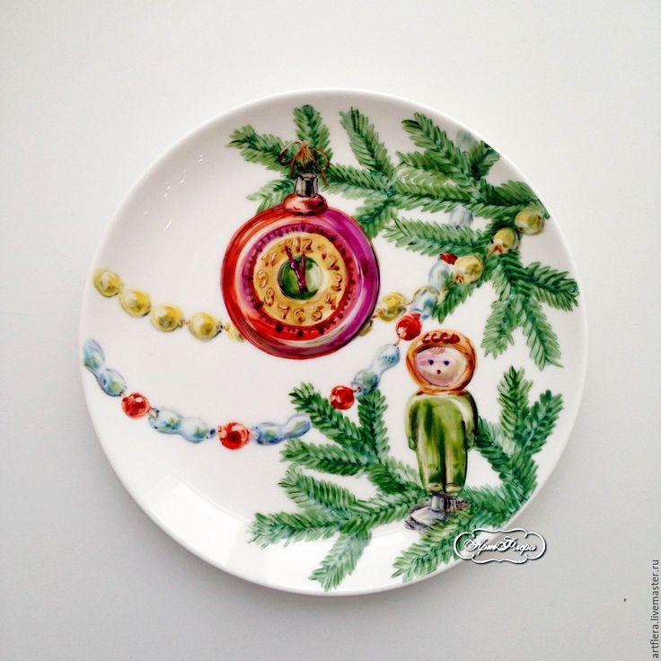 Купить Роспись фарфора Тарелки набор Старые новогодние игрушки - роспись фарфора, роспись по фарфору