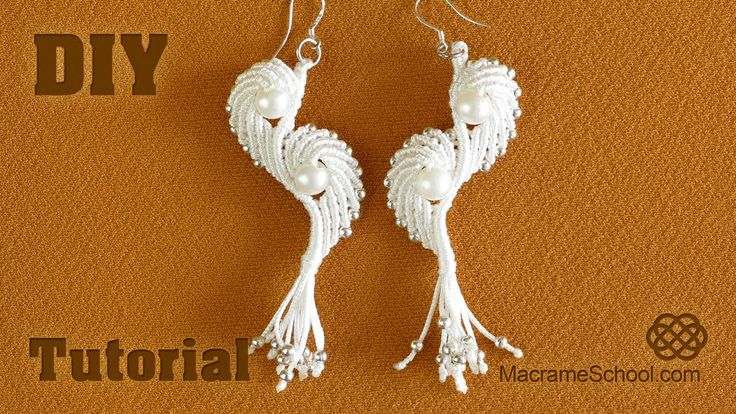 Angel Wings & Shell Earrings with pearls (Tutorial). How to make a bracelet in this style, see here: http://youtu.be/gtaDGMLSHdE Please watch more macrame ea...