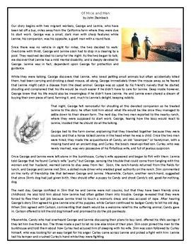 """This Reading Comprehension worksheet is suitable for upper intermediate to proficient ESL learners. The text gives a summary of John Steinbeck's novel """"Of Mice and Men"""" that explores the tragic story of two unlikely friends Lennie and George. After carefully reading the text, students are required to complete some comprehension exercises including: questions, True or"""