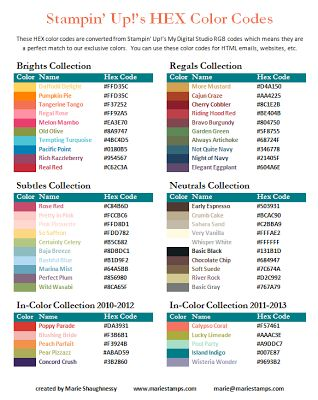 Stamping Inspiration: HEX COLOR CODES FILE SHARE...