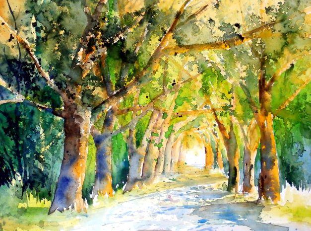 aquarell, watercolor, aquarelle, bäume, trees, arbres, landschaft, landscape…