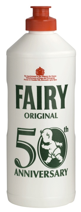 Fairy washing-up liquid 50th anniversary packaging (2010).