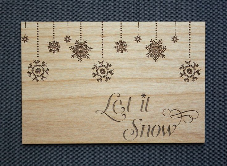 Let It Snow Christmas Card - Snowflake Christmas Cards - Holiday Card