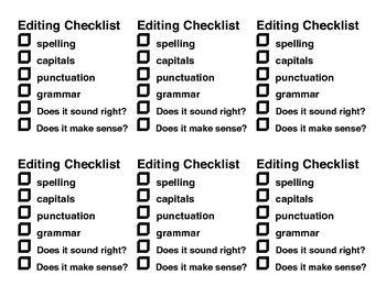 Edit your writing Checklist - FREE
