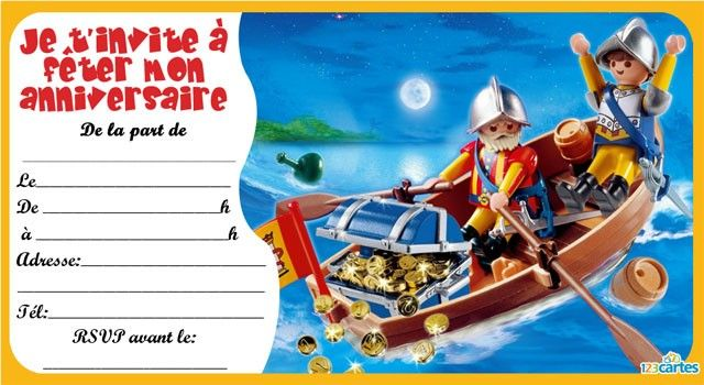 invitation anniversaire playmobil pirates 2. Black Bedroom Furniture Sets. Home Design Ideas