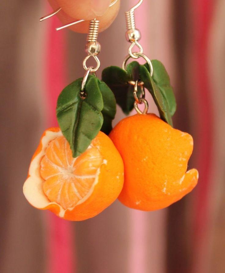 Jewelry Earrings / Orange Mandarin / Handmade Polymer clay #Handmade #DropDangle