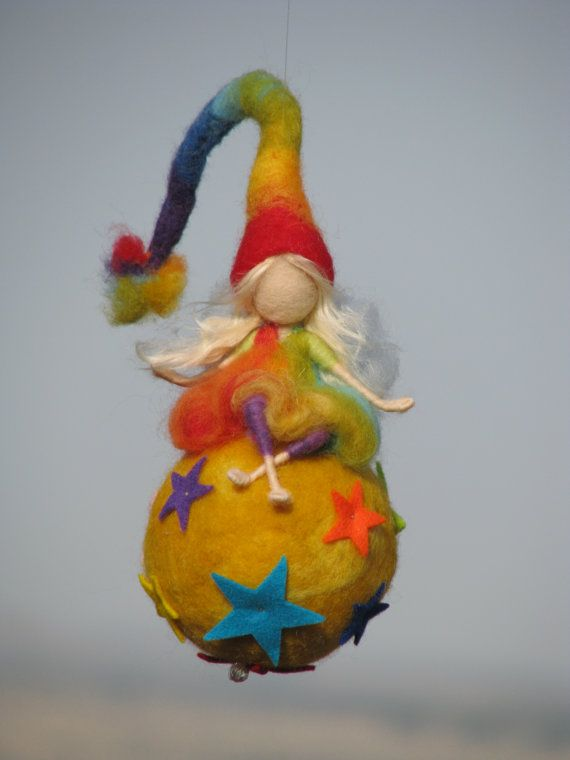 Waldorf inspired needle felted nursery mobile Rainbow fairy sitting on a star....