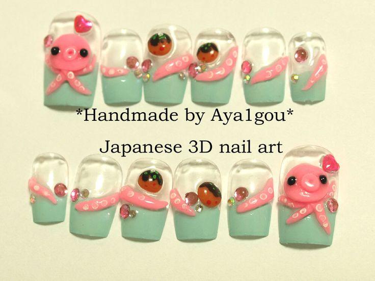 Octopus, takoyaki, squid, tentacle, mint nails, kawaii, deco nail, Japanese 3D nail, Harajuku, novelty, food nail, alternative, pastel,(Etsy のAya1gouより) https://www.etsy.com/jp/listing/74196112/octopus-takoyaki-squid-tentacle-mint