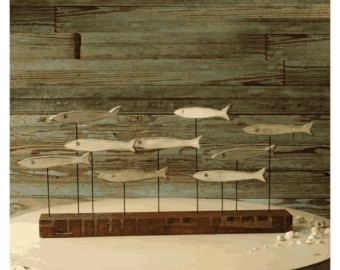Funky Fish Sculpture Minnow Fish School Wood Art Beach Decor Coastal Decor