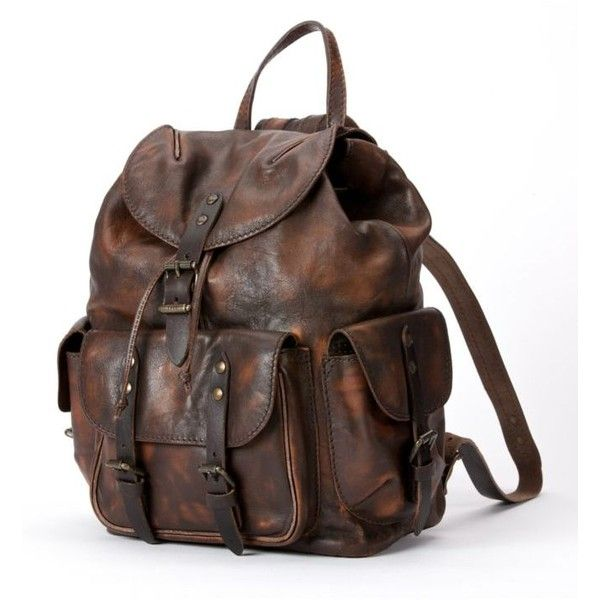 Frye Maple Veronica Backpack ($498) ❤ liked on Polyvore featuring bags, backpacks, maple, striped buckle backpack, vintage leather rucksack, buckle backpack, leather studded backpack and vintage rucksack