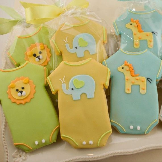 truly scrumptious cookies - baby shower - onesie cookies - lions, elephants & giraffes